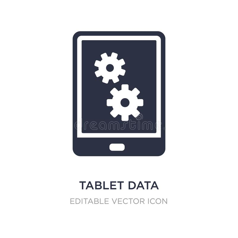 tablet data settings icon on white background. Simple element illustration from Computer concept stock illustration