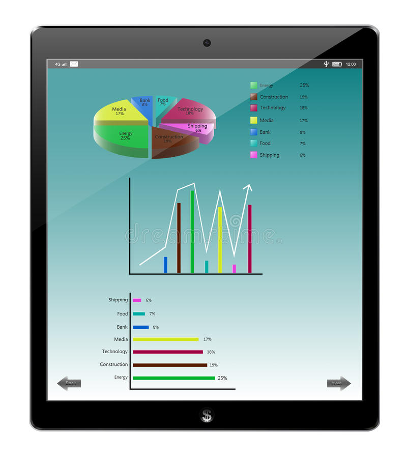 Tablet de gelijkaardige ipad en zaken van de pasteigrafiek royalty-vrije illustratie