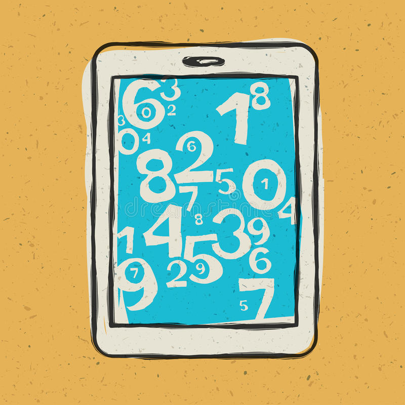 Tablet Device Waith Abstract Digits Stock Images