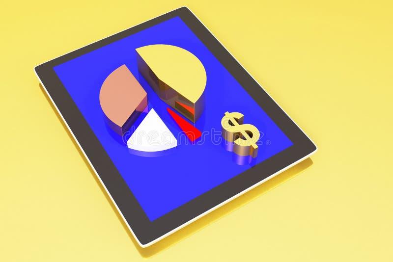 Tablet die een van de pasteigrafiek en dollar teken toont vector illustratie