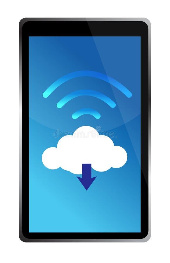 Tablet Die Met Een Wifiwolk Wordt Verbonden Stock Foto