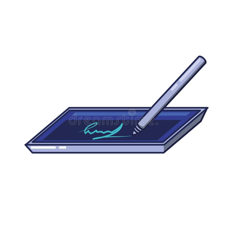 Digital Signature On Tablet Stock Vector