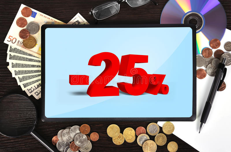 Tablet With Discount Stock Image