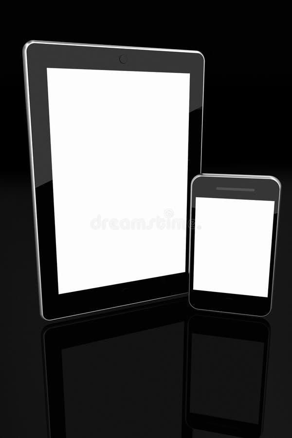 Tablet en de mobiele telefoon lege schermen royalty-vrije illustratie