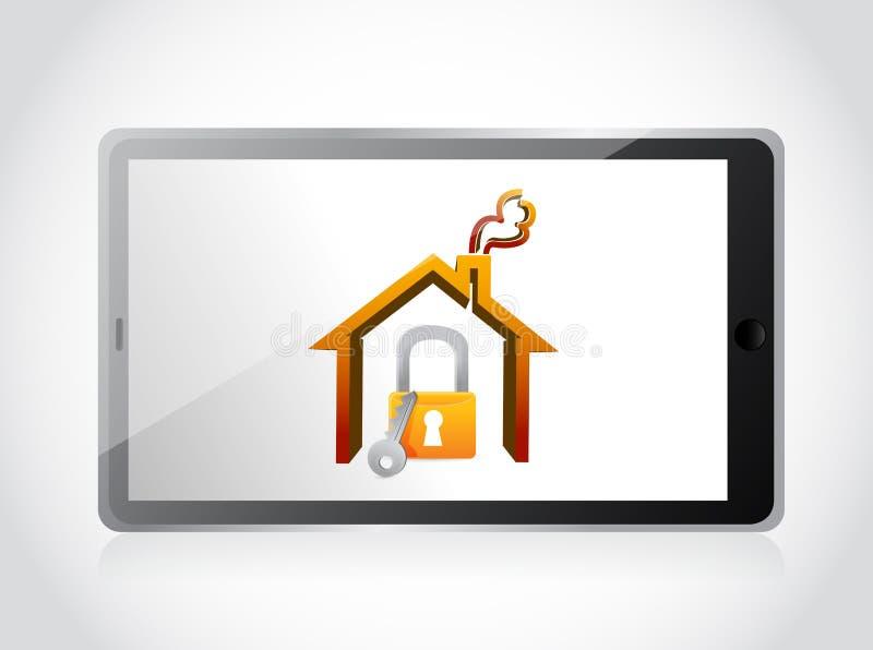 Tablet en huis de illustratie van het veiligheidsconcept royalty-vrije illustratie