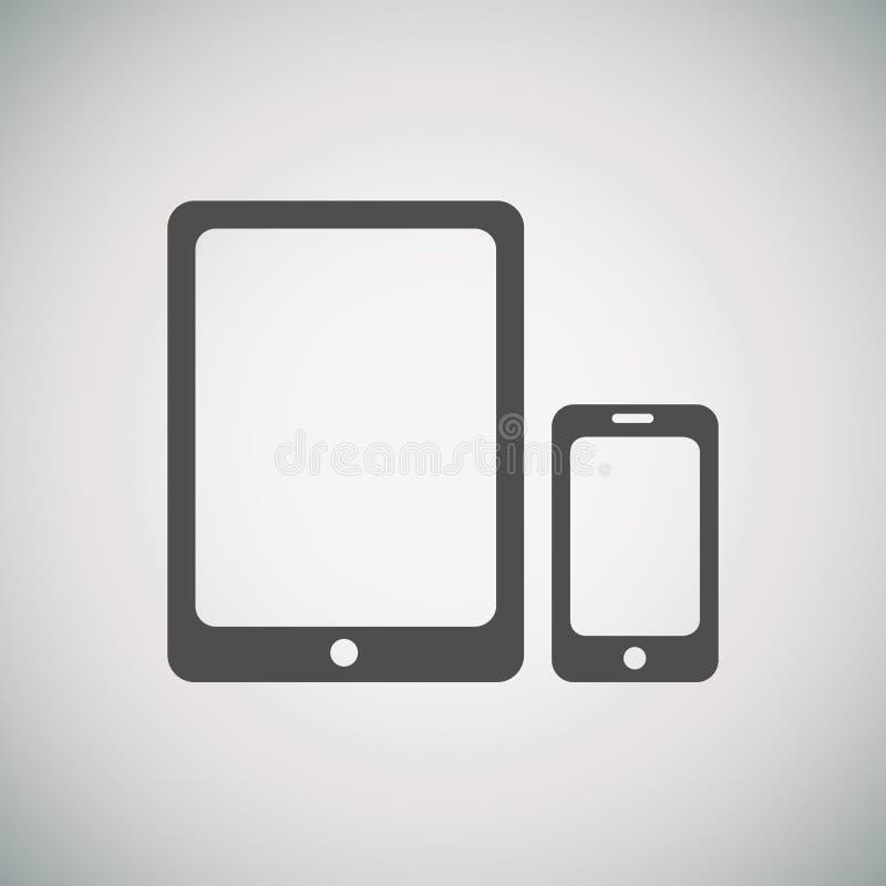 Tablet en mobiel telefoonpictogram stock illustratie