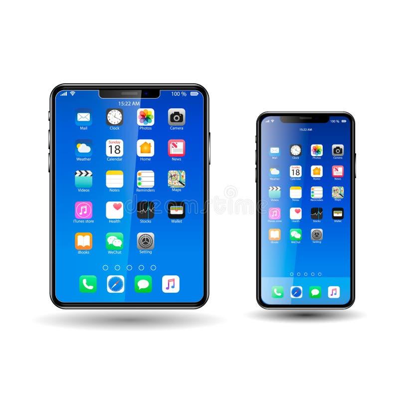 Tablet en Mobil-Telefoon met blauwe Pictogrammen, stock illustratie