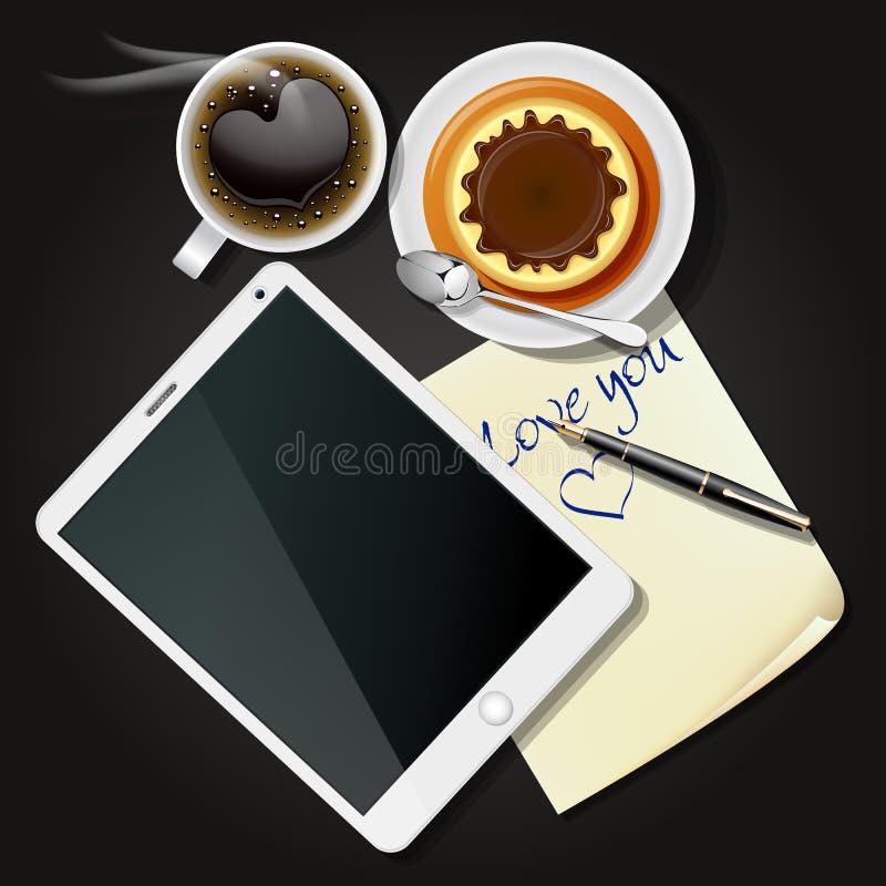 Tablet en notadocument met zwarte koffie en pudding stock illustratie