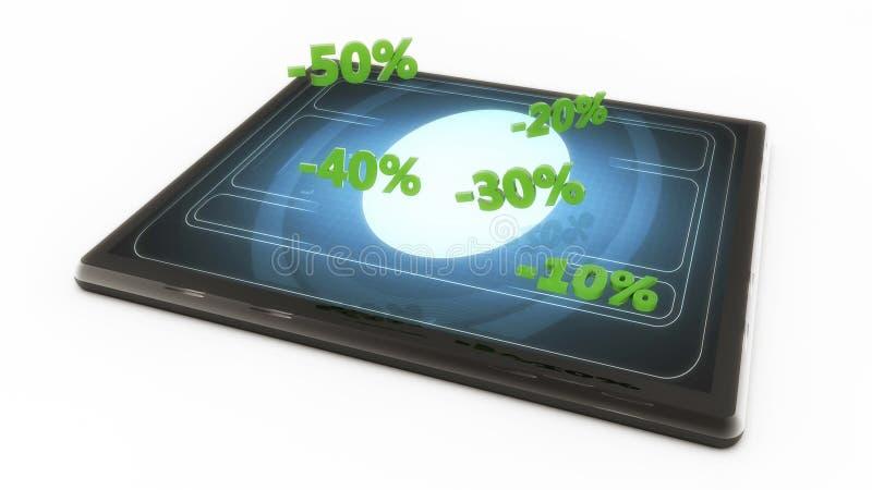 Tablet en speciale kortingen stock illustratie