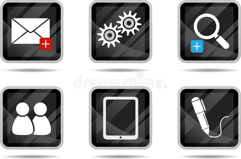 tablet för 3 symbolsinternet stock illustrationer