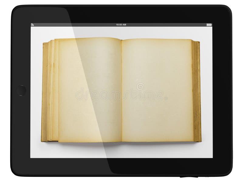 tablet för arkiv för bokdatorbegrepp digital arkivbild