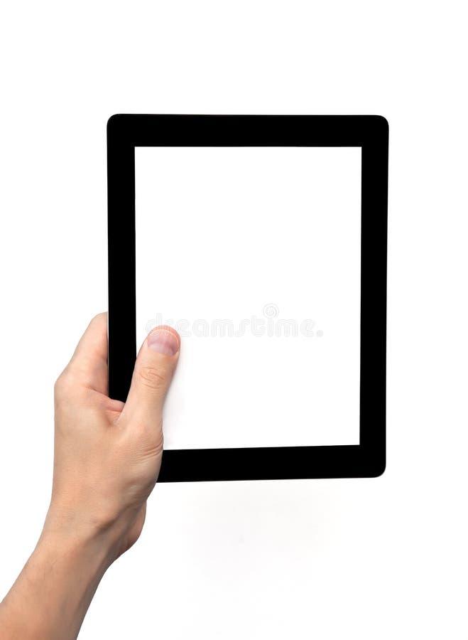 tablet för man för datorhandholding arkivfoton