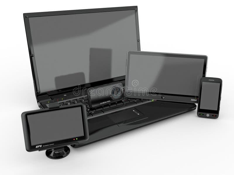 tablet för telefon för PC för bärbar dator för gps 3d mobil vektor illustrationer