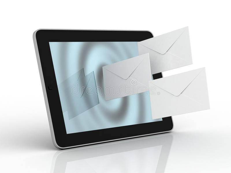 Download Tablet and fly envelopes stock illustration. Image of buttons - 33425548