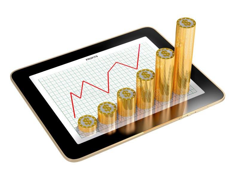 Tablet - groeien de grafieken van muntstukken worden gemaakt die winst tonen die royalty-vrije illustratie