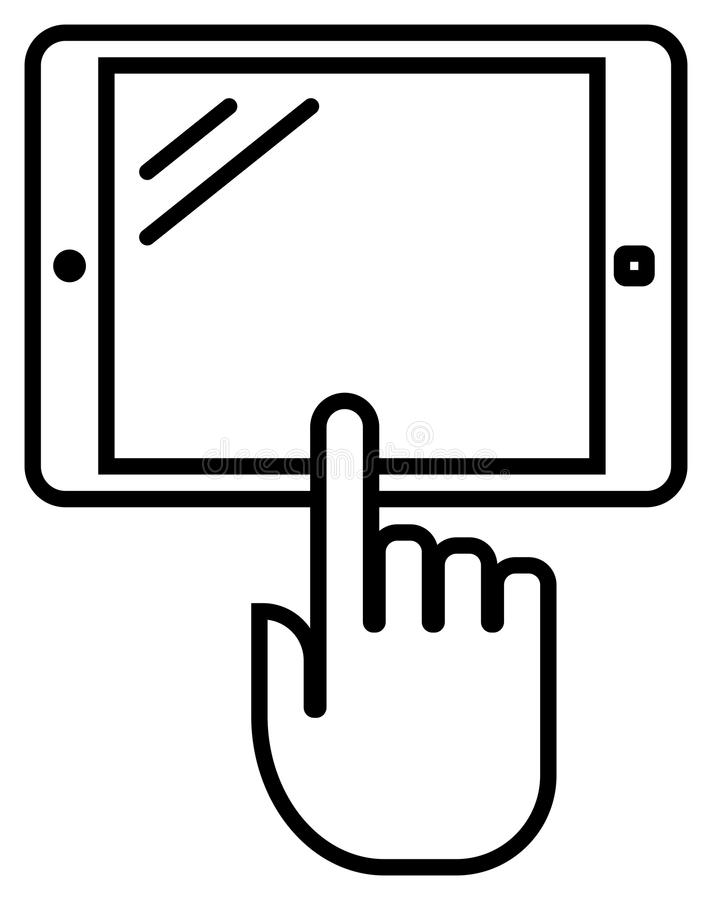 Tablet with hand outline icon royalty free illustration