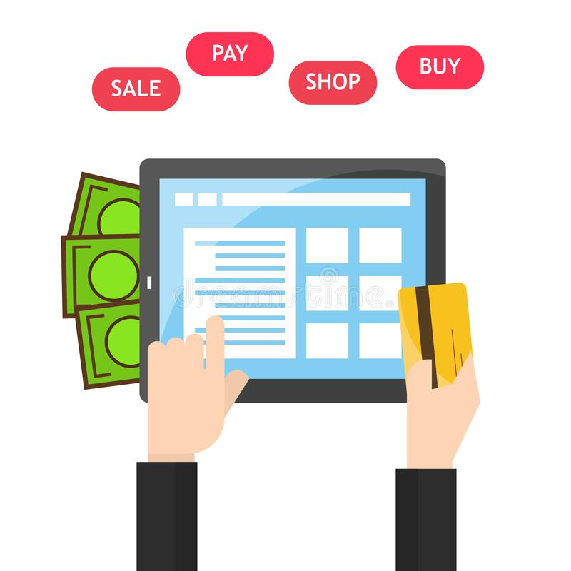 Tablet in hands of a men buying on internet. flat design. Shopping pay on tablet screen. Online shopping concept. stock illustration