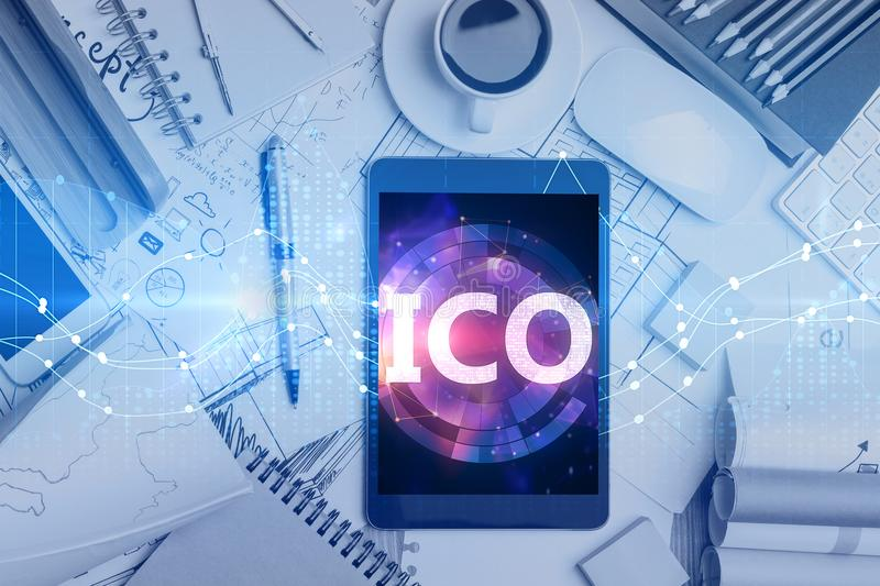 Tablet with ICO hologram stock images