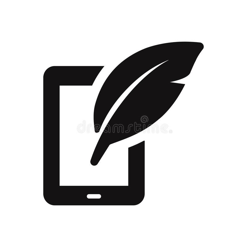 Tablet icon with feather sign royalty free illustration