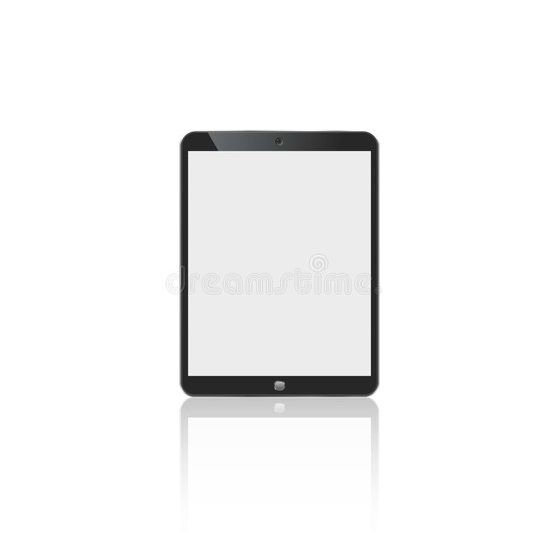 Tablet in ipad style black color with blank touch screen isolated on white background. stock illustration royalty free illustration
