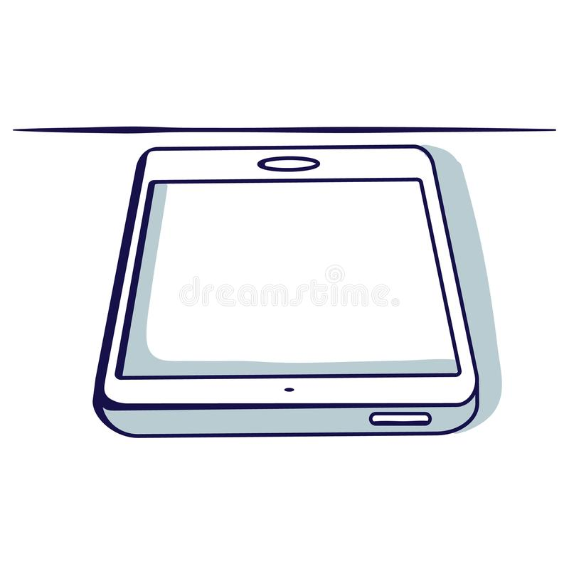 Tablet isolated on the white background. View of lying. Hand drawn doodle cartoon vector illustration vector illustration