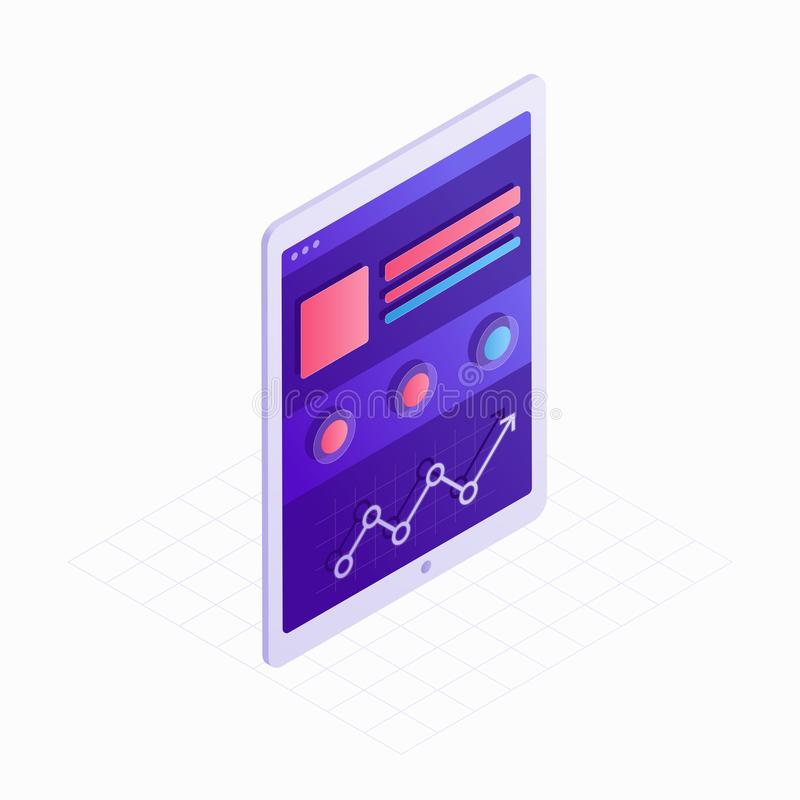 Tablet isometric icon with touchscreen and website 3D design vector illustration. Concept of digital technology with vector illustration