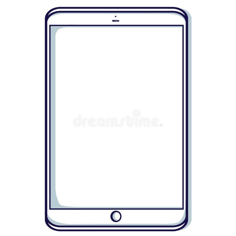 Tablet lokalisiert auf dem weißen Hintergrund lizenzfreie abbildung