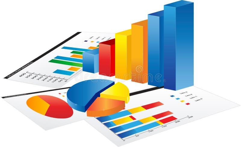 Tablet met 3d grafiek vector illustratie