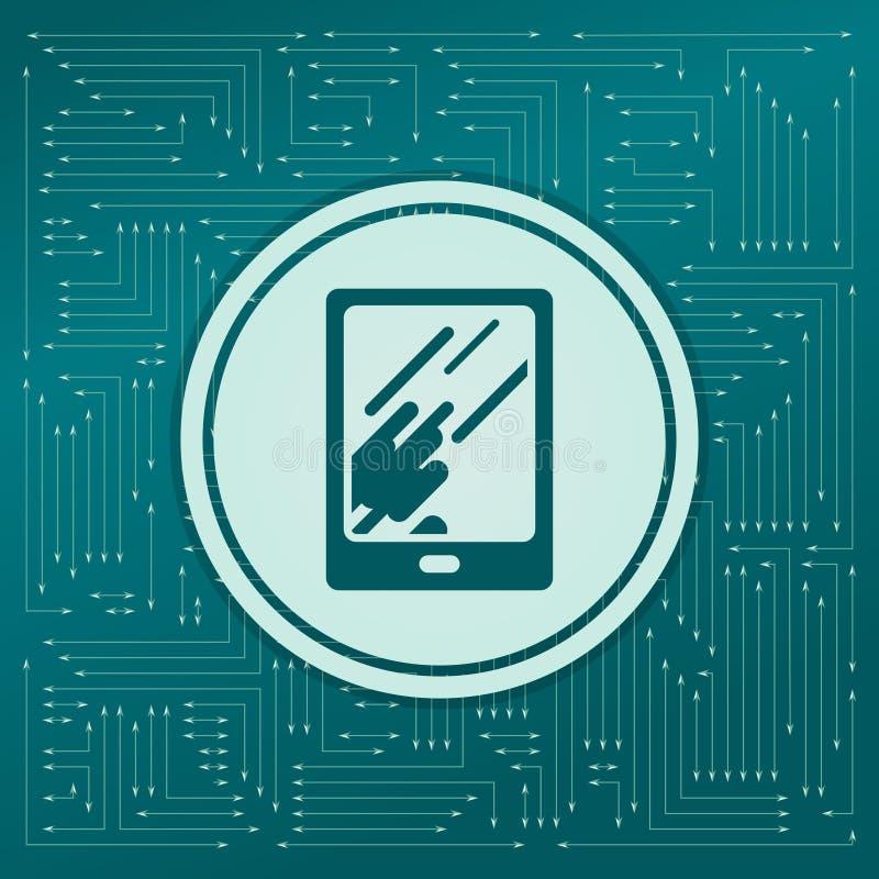 Tablet met de bezinning van licht pictogram op een groene achtergrond, pijlen in verschillende richtingen Het lijkt de elektronis stock illustratie
