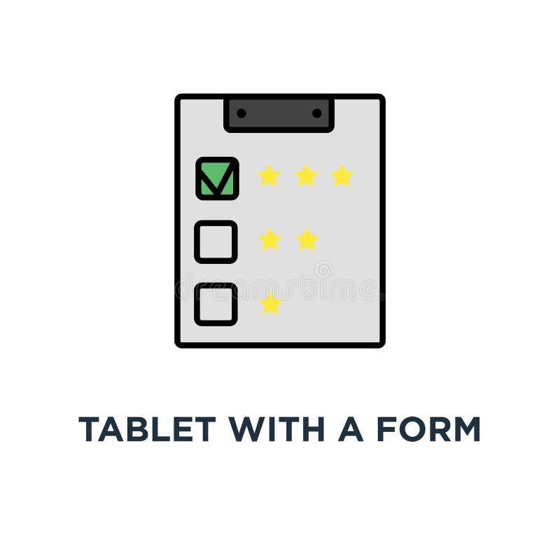 tablet met een vorm voor het vullen van pictogram het online onderzoek, koppelt terug en herziet, schetst, het ontwerp van het co royalty-vrije illustratie