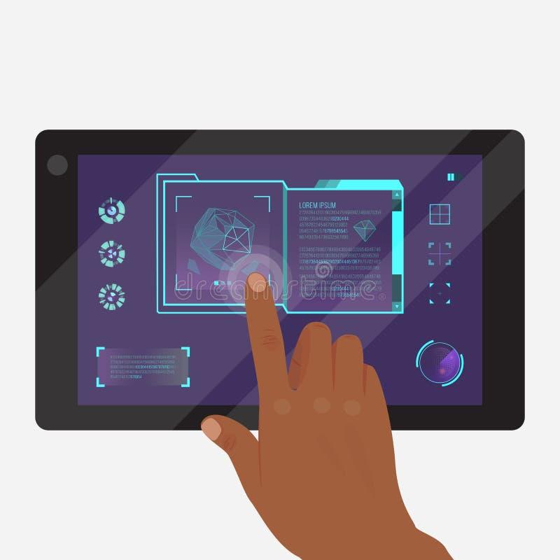 Tablet met futuristische spel of toepassings vectorillustratie Het doen van onderzoekbanner, affiche Wat betreft pictogrammen  royalty-vrije illustratie