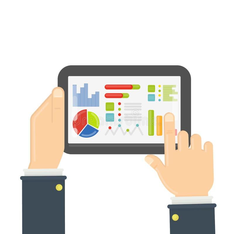 Tablet met gegevensgrafiek stock illustratie