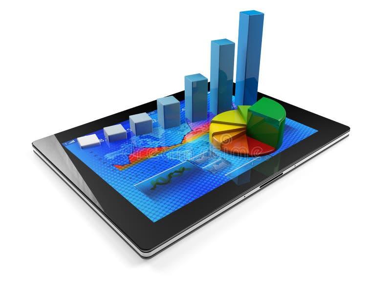 Tablet met grafiek vector illustratie