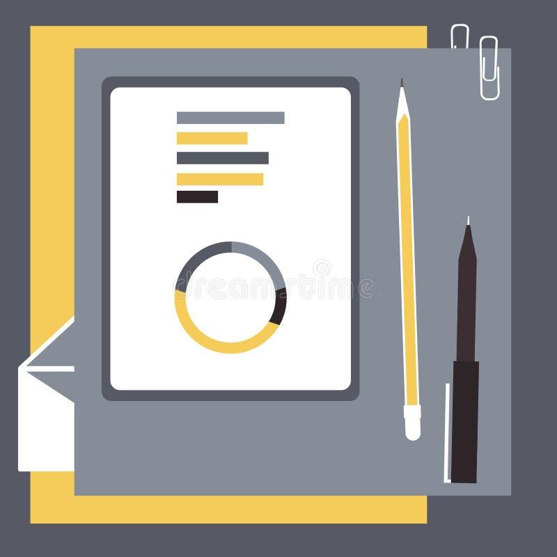 Tablet met grafiek en pennen op het bureau royalty-vrije illustratie
