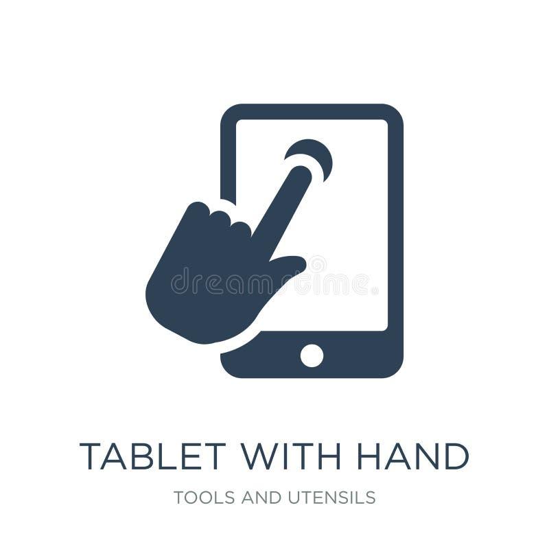 tablet met handpictogram in in ontwerpstijl tablet met handpictogram op witte achtergrond wordt geïsoleerd die tablet met hand ve vector illustratie