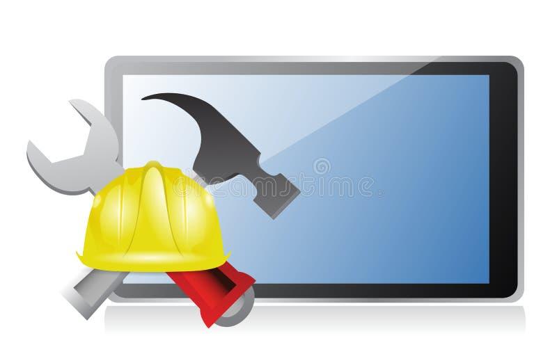 Tablet met kwesties en in aanbouw teken vector illustratie