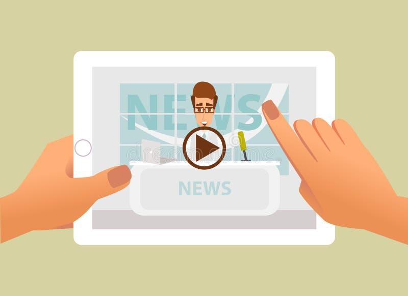 Tablet met online video van het breken van nieuws op het scherm in handen Vectorillustratie van levend Web online nieuws en video royalty-vrije illustratie