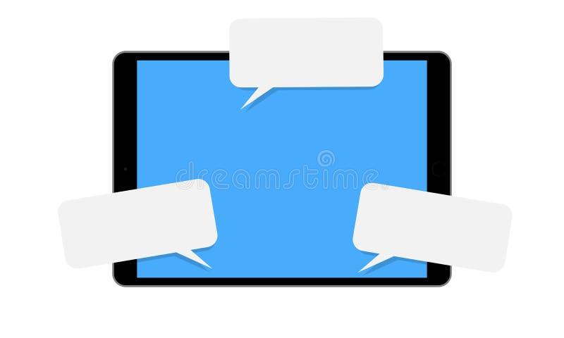 Tablet met pop-up toespraakbellen vector illustratie