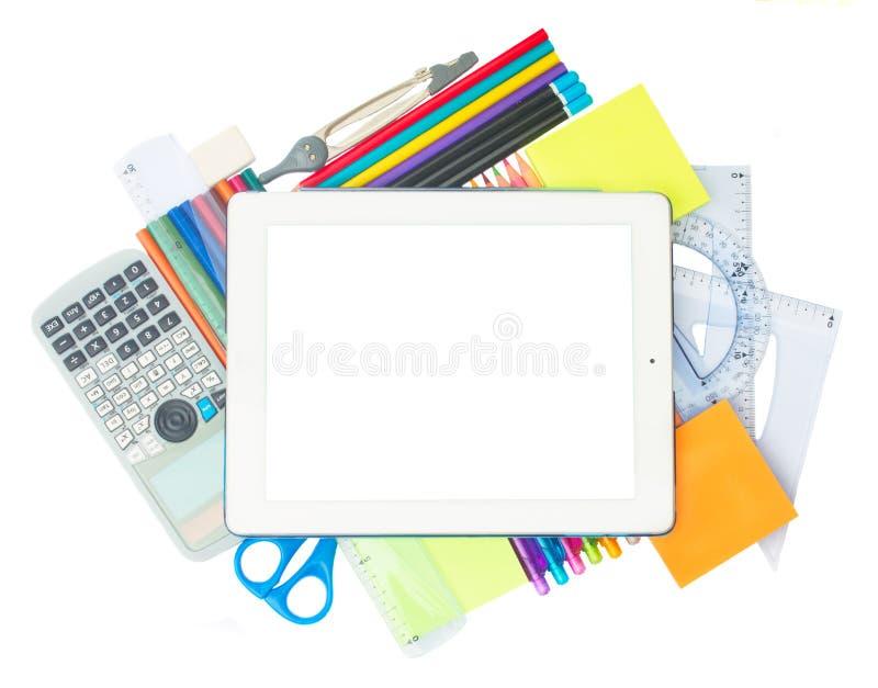 Tablet met schoollevering royalty-vrije stock foto's