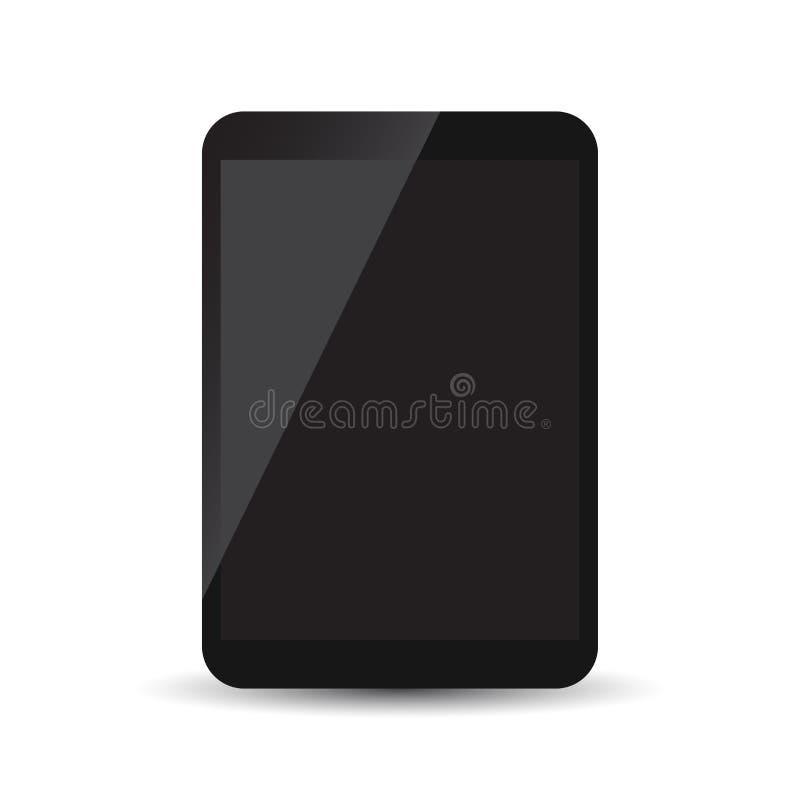 Tablet met zwart het scherm vlak pictogram stock illustratie