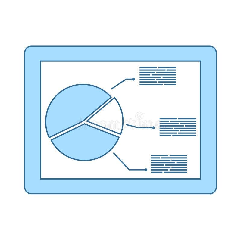 Tablet mit Analytics stellen Ikone grafisch dar stock abbildung
