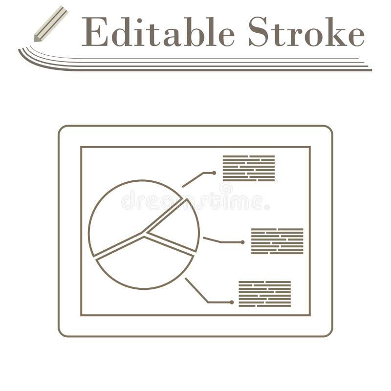 Tablet mit Analytics stellen Ikone grafisch dar vektor abbildung