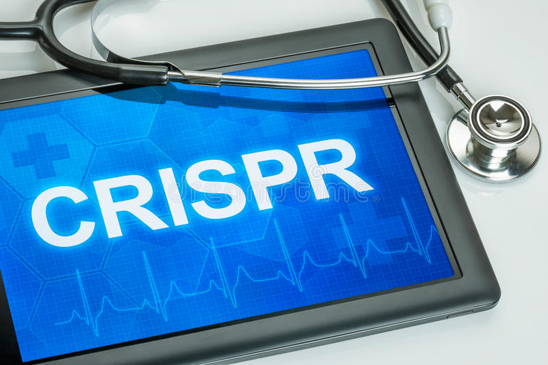 Tablet mit dem Wort CRISPR lizenzfreie stockfotos