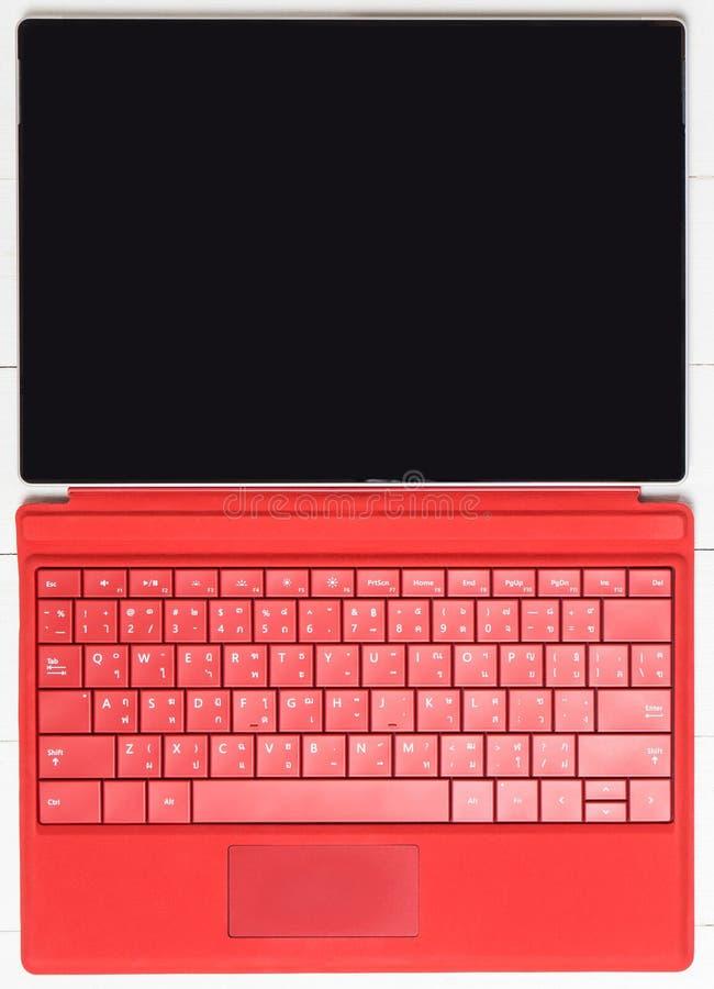 Tablet mit faltender Tastatur stockfoto