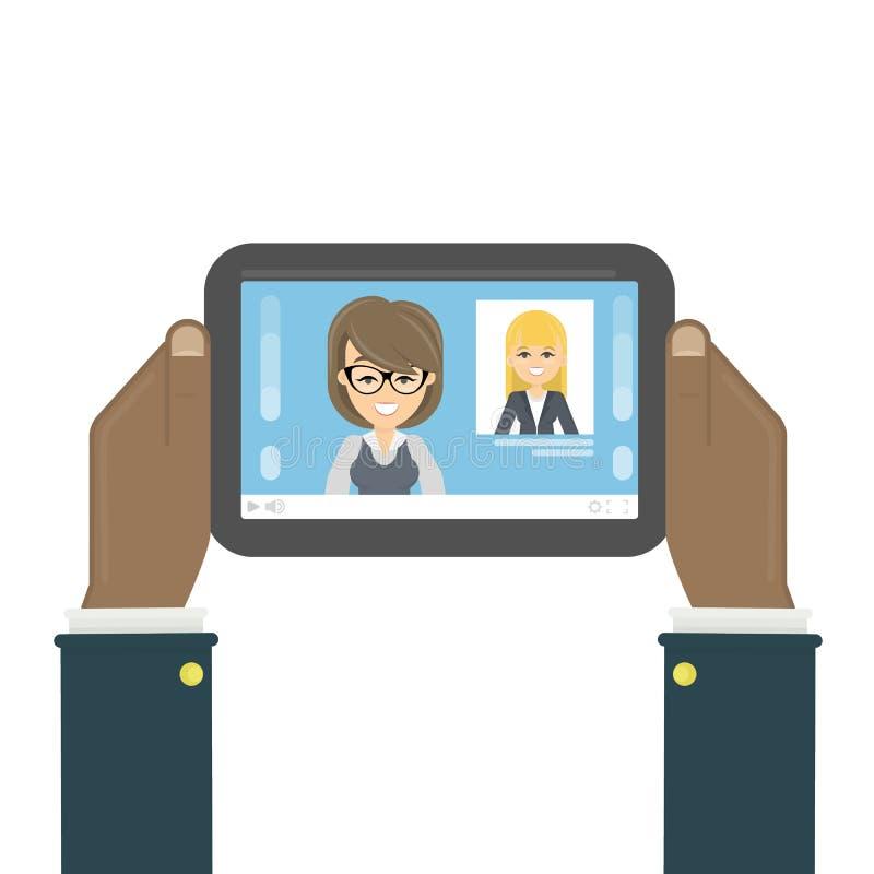 Tablet mit Nachrichten lizenzfreie abbildung