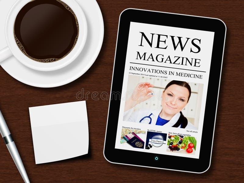Tablet mit Nachrichtenmagazin, Tasse Kaffee, Stift und weißem Blatt lizenzfreies stockfoto
