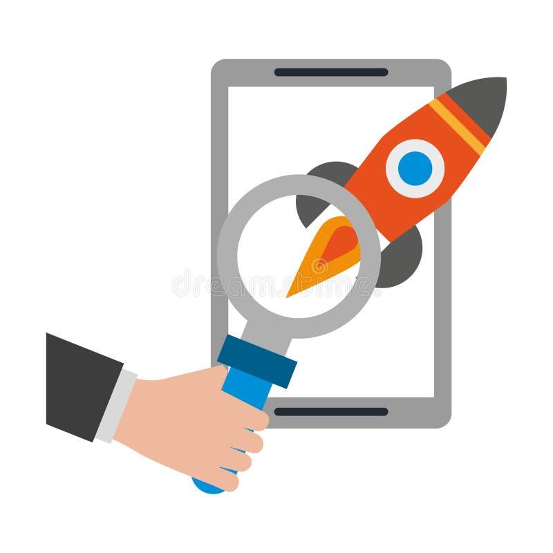 Tablet mit Rakete und Lupe vektor abbildung