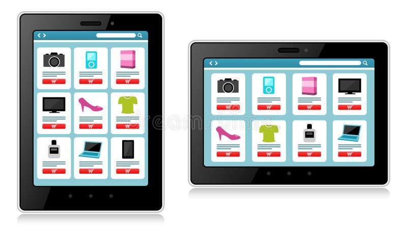 Tablet, Mobiel Apparaat die, online winkelen stock illustratie