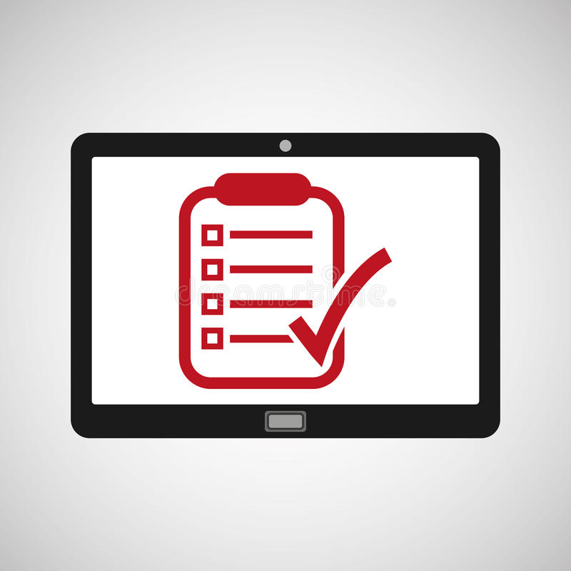 Tablet mobiele app rapportcontrole stock illustratie