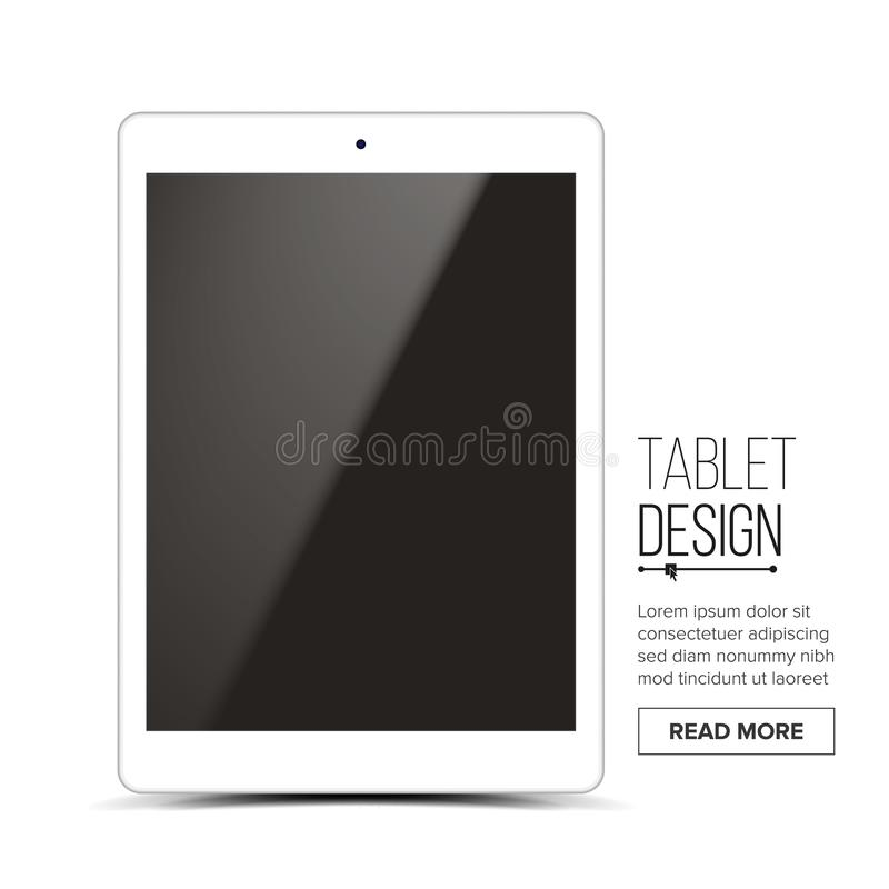 Tablet Mockup Design Vector. White Modern Trendy Touch Screen Tablet Front View. Isolated On White Background. Realistic. 3D royalty free illustration